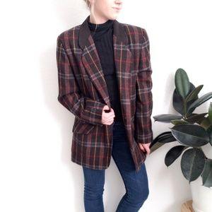 90s Vintage striped plaid Blazer Sport Coat Jacket